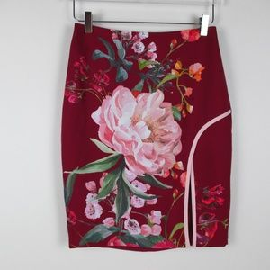 Ted Baker Floral Skirt Front Slit Size Size 1